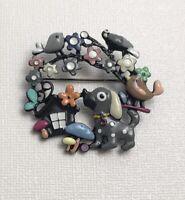 Unique dog bird  mushroom & butterfly brooch in enamel on metal