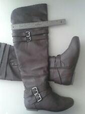 Top Moda Brown Faux Leather Over the Knee Flat Boots Sz 9