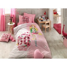 Pink Jolla %100 Cotton Girl's Single/Twin Duvet Quilt Cover Set Bedding,3 pieces