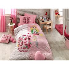 Pink Jolla %100 Cotton Girl's Single/Twin Duvet Quilt Cover Set Bedding,3 pieces