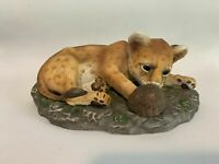 Vintage Home Interior Masterpiece Porcelain Cheetah/Lion Cub Homco Figurine