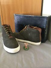 Polo Ralph Lauren ZALE Mens Shoes Mid Top Oil Suede Brown Ash Grey 8D