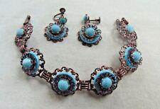 Vintage Copper Filigree W Turquoise Color Link Bracelet & Screw Back Earring Set