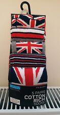 Primark Mens Boys Union Jack British Flag Red White Blue Socks Size 9 -12 BNWT