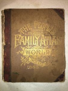People's Illustrated & Descriptive Family Atlas of the World 1885 Maps