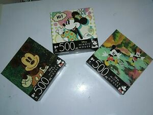 Disney Mickey Mouse & Minnie Mouse Colorful 500 Piece Jigsaw Puzzles Lot of 3