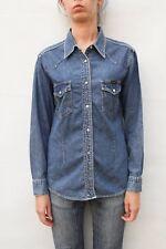 Wrangler Long Sleeved Snap Button 100% Cotton Blue Denim Shirt (L) UK14/16 VTG!