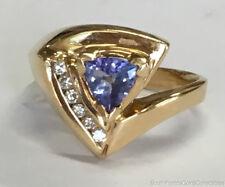 Estate Jewelry Levian Ladies Tanzanite & Diamond Ring 14K Yellow Gold Size 7