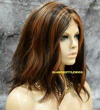 Human Hair Blend Lace Front Full Wig Bob Wavy Layered Brown Auburn Mix NWT