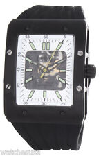 Rotary Mens Skeleton White Dial Black Rubber Strap Automatic Watch 810C