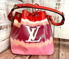 Louis Vuitton Petite Noe Custom Painted Escale Authentic Epi Leather Pink Red