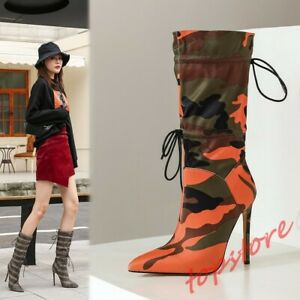 Womens Pointy Toe Stiletto High Heels Mid Calf Boots Stretchy Shoes Drawstring