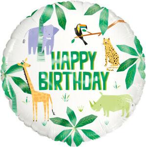 "FANTASTIC COLOURFUL SAFARI ANIMALS HAPPY BIRTHDAY 18"" HELIUM FOIL BALLOON"