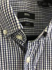 Hugo Boss Slim Fit Stretch Cotton Long Sleeve Shirt Blue/White Striped Size: 41