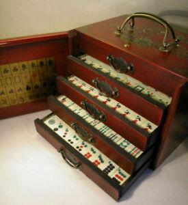 144 Tiles Traditional Mahjong Mah Jong Home Game Set With Wooden Box