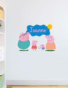 Custom Personalised Peppa Pig Bedroom Nursery Wall Sticker Decal