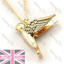 3cm BIG 3D BIRD swallow PENDANT vintage gold tone NECKLACE navel VERY LONG CHAIN