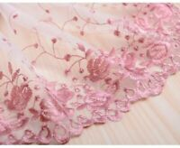 3D DIY Flower Embroidery Beads Lace Fabric Sheer Mesh Tulle Trim Wedding Dress
