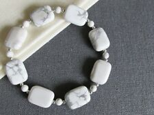 White & Grey Howlite & Sterling Silver Beaded Bracelet - Limited Edition Gift