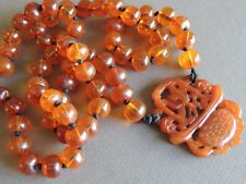Old Chinese Natural Honey Amber Beaded Necklace Carved Jade Pendant