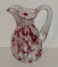 "Art Glass Pitcher Jug Cranberry 7.5"" Hand Blown Spatter Twist Handle"