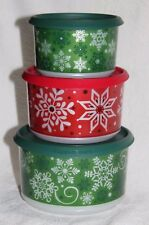 Tupperware SNOW PLACE LIKE HOME CHRISTMAS STACKING CANISTERS ~ Set of 3 ~ NEW!