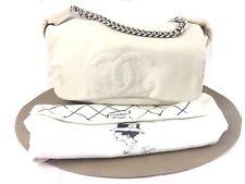 Chanel Borsa Bag Bianca Pelle Grande Usata Ed Speciale Legerfeld Interni Rossi