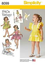 Simplicity SEWING PATTERN 8099 Toddlers Retro 1940s Romper & Skirt