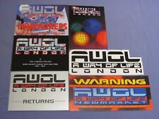 6 AWOL OLDSKOOL DNB JUNGLE RAVE FLYERS ROAST DESIRE WORLD DANCE TELEPATHY PK1