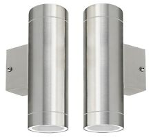 2 x Stainless Steel Double Outdoor Wall Light IP65 Up/Down Wall Light ZLC02