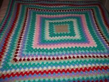 """Crocheted Square Multi Coloured Blanket/Throw - 47""""/120cms Square - BNWOT"""