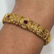 14k Yellow Gold Sterling Silver Multi Gemstone Byzantine Tennis Wheat Bracelet 7
