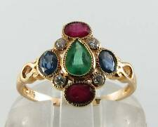 COMBO 9CT 9K YELLOW GOLD EMERALD SAPPHIRE RUBY DIAMOND ART DECO INS RING