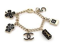 Chanel Yellow Gold Tone & Black Enamel 6 Iconic Charms Chain Bracelet