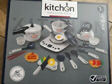 Cute Kids Kitchen Pretend Play Cooking Baking Pots Pans with Lights &sound.cream