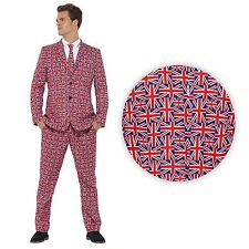 Adult Mens British GB Flag Union Jack Suit 3pc Royal Wedding Street Party Stag