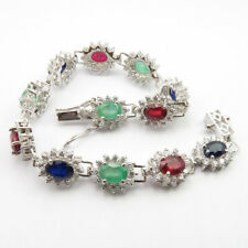 "Natural Ruby Emerald Sapphire 925 Silver Bracelet 7.6"" Easter Sunday Offers"