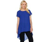 H by Halston Sheer Short Sleeve Hi-Low Hem Tunic Color BLACK Size Reg 16