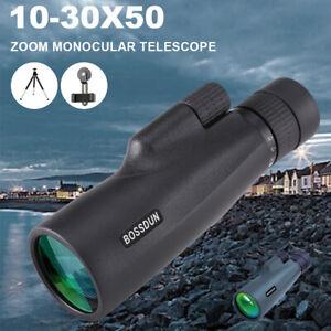 NEW 10-30X50 Zoom Monocular Waterproof BAK4 HD Optic Scope Pocket Telescope