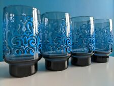 Psychedelic 60s/70s Libbey Glasses Set Of 4 Blue Swirls Hippie Boho Eclectic HTF