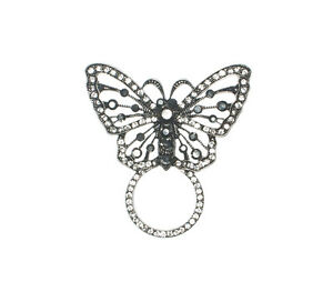 RHINESTONE BUTTERFLY SUNGLASS HOLDER PIN