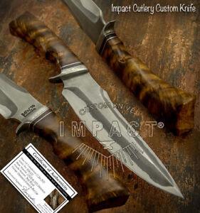IMPACT CUTLERY RARE CUSTOM DAMASCUS  BOWIE KNIFE BURL WOOD HANDLE