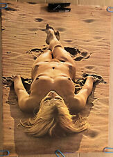 Original Vintage Poster Beach Beauty Naked Woman 1970's Pin Up Sexy Beach