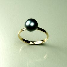 14k solid yellow gold 8mm natural Freshwater Black Pearl ring 1.7grams, size 7