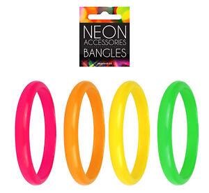 4 Neon Bangles - Bracelets 80s Fancy Dress Costume Accessory Rave Punk Gay Pride