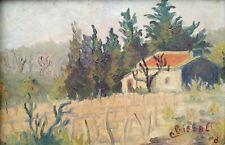 Colette BISBAL, Huile Sur Panneau Signée. Paysage Provence. Le Mazet provençal.