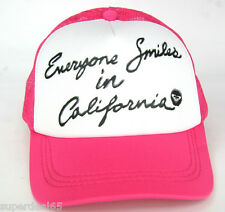 Roxy Snapback Trucker Cap Everyone Smiles In California Pink Roxy Hat Beach