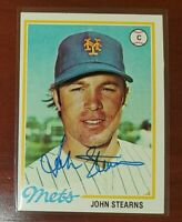 1978 Topps #334 John Stearns Mets Blue Sharpie Signed Auto Authentic Autograph