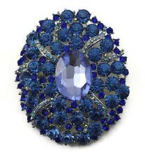 Blue Fine Austrian Rhinestone Crystal Garden Wedding Bridal Brooch Pin