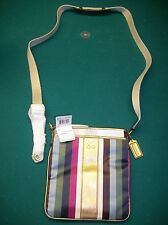 Brand New w/tag Coach Multi-Colored Stripped Messenger Bag Handbag $138